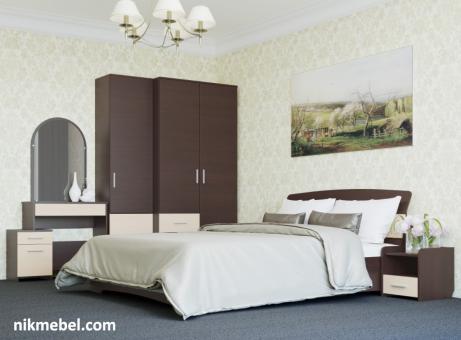 Спальня-1 БРИЗ - венге темный, дуб молочный