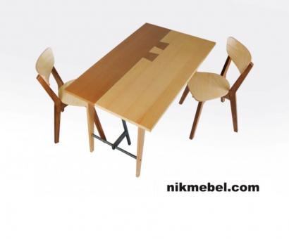 Стол обеденный ДУБЛИН - ясень натуральный, орех (коллекция ЛОФТ)