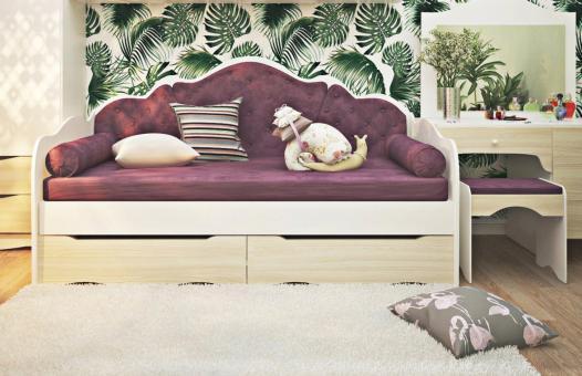 Кровать Л-6 с ящиками 1200*2000 - нимфея альба, сонома