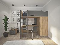 Кровать-чердак с выдвижным шкафом и столом МАЛЬМО