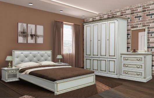 Спальня 4Дв МИРА - белый, золото