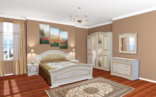 Спальня 4Д Николь - белый, белое дерево (патина)