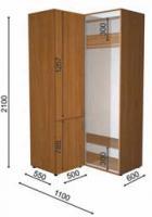 Шкаф-купе с пеналом ШК+П1 (1100/600/2100)