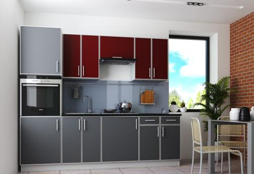 Кухня 2.5 ВИНТАЖ - бордо, графит