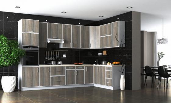 Кухня угловая ВИНТАЖ - дуб платиновый